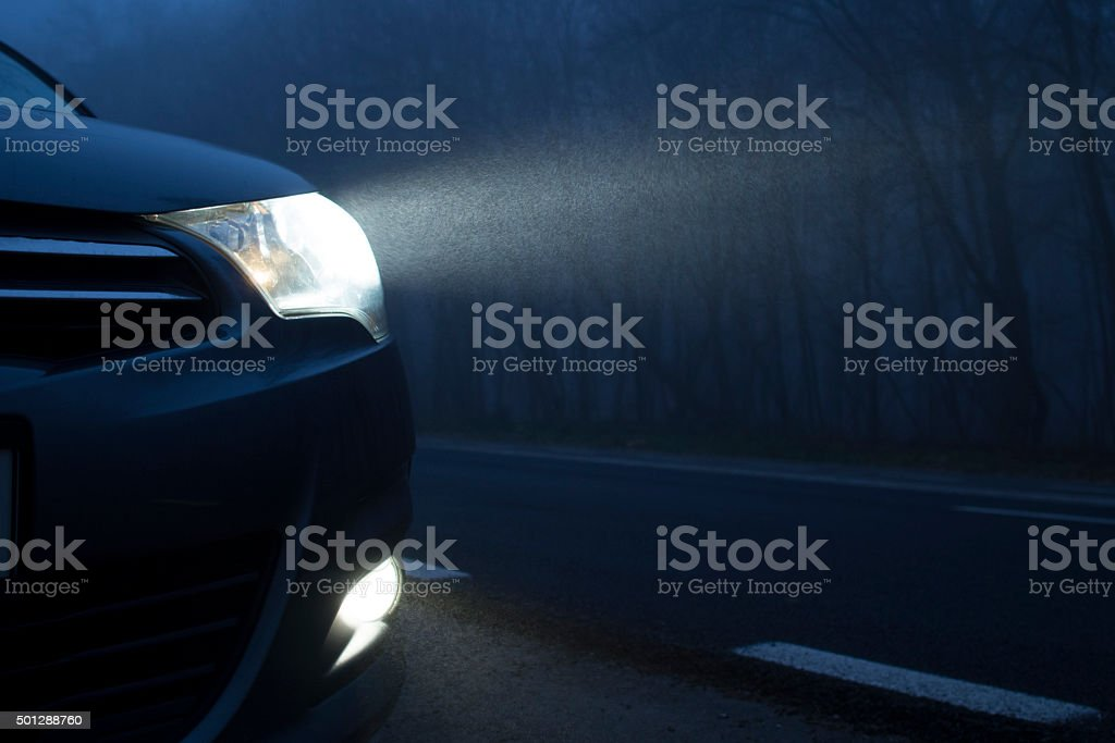Dark Night Car Lights stock photo