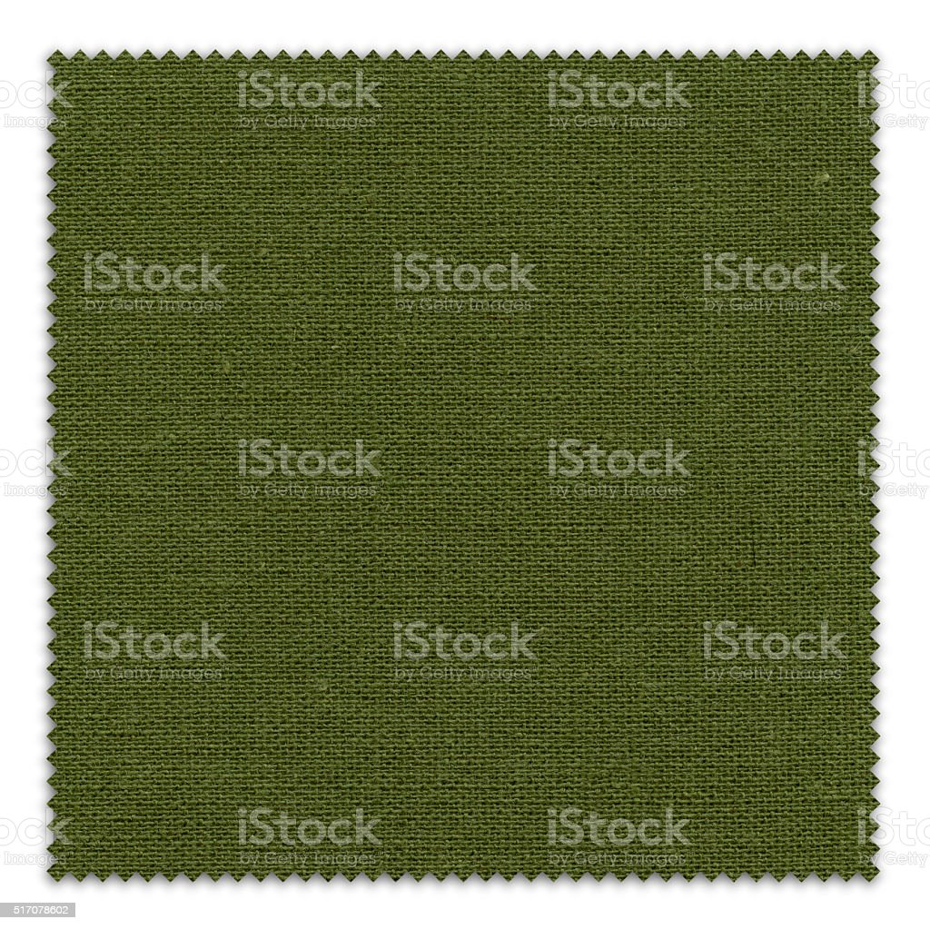 Dark Olive Green Fabric Swatch (Clipping Path) stock photo