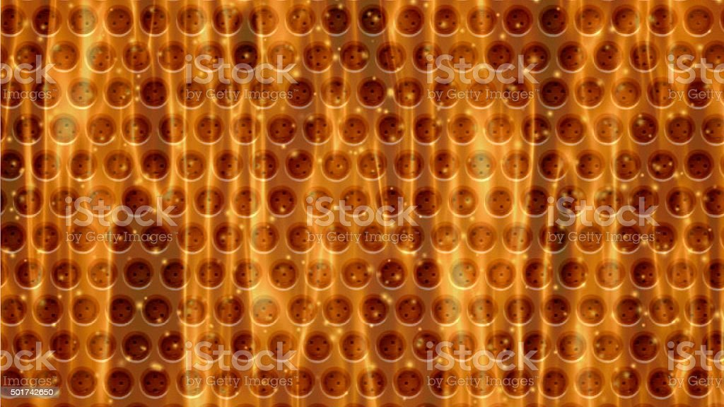 Dark orange metal background with holes. Metal Grid for industrial stock photo