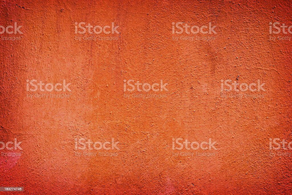 Dark Orange Scratched Plaster Wall, Texture Background royalty-free stock photo