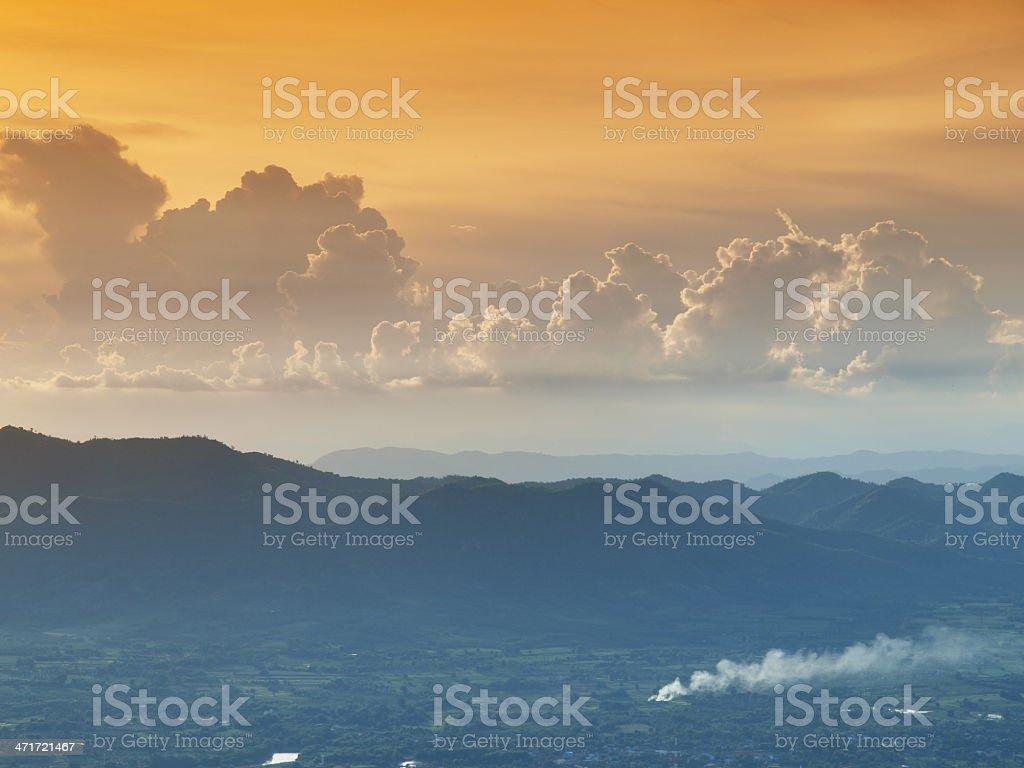 dark orange sky and clouds stock photo