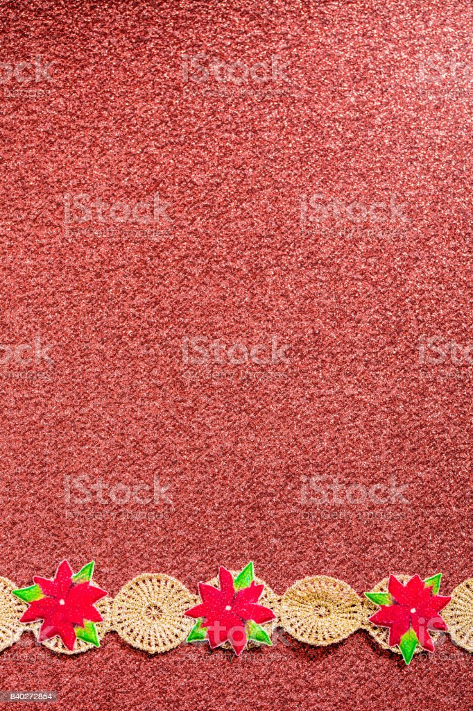 Gold Ribbon on Dark Pink background with Poinsettia flowers