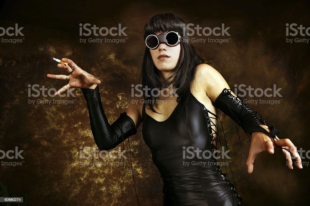 Dark portrait of a girl with gogles royalty-free stock photo