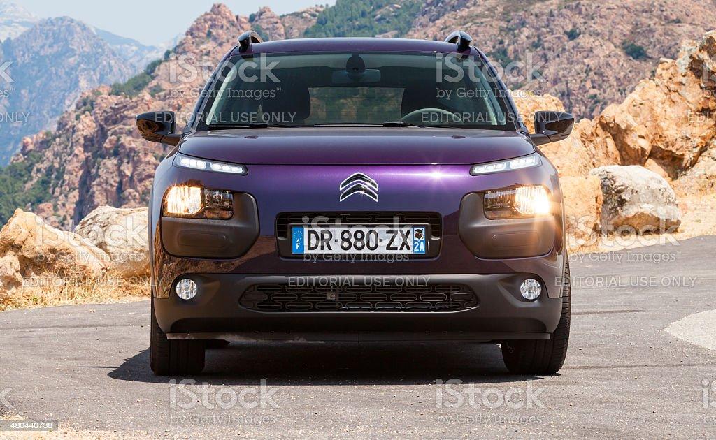 Dark purple new Citroen C4 Cactus, frontal view stock photo