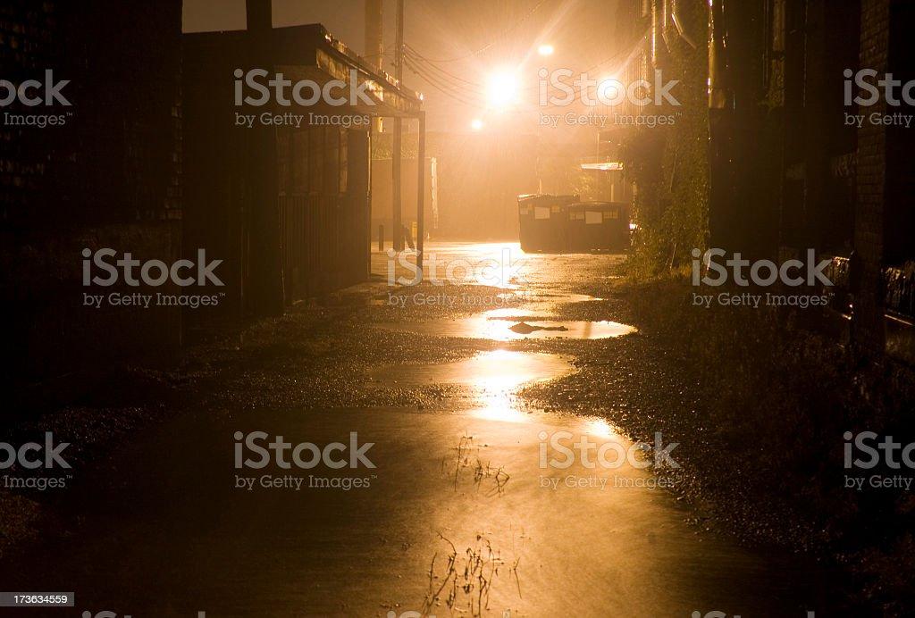 Dark Rainy Alleyway royalty-free stock photo