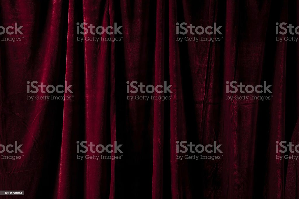 Dark Red Curtain Folded at a Theater stock photo