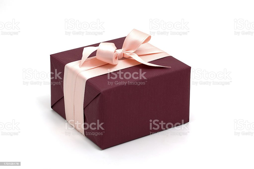 dark red gift box with pink bow royalty-free stock photo