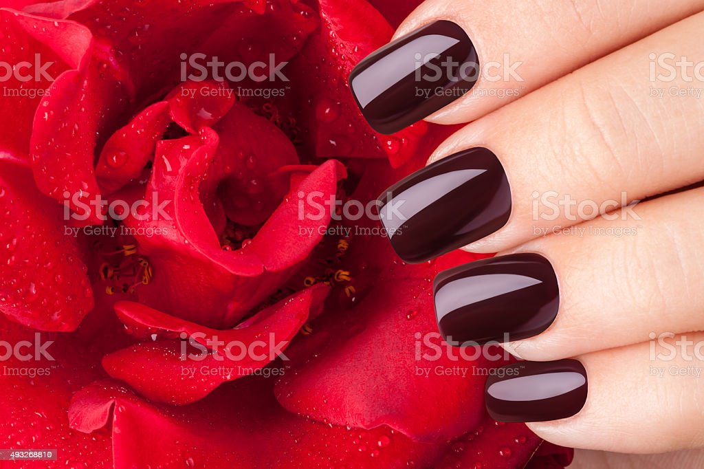 Dark red nail polish. stock photo