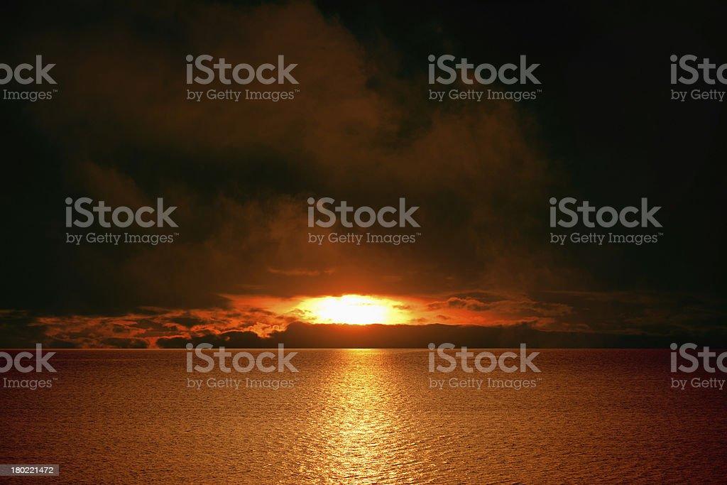 Dark red sunset royalty-free stock photo