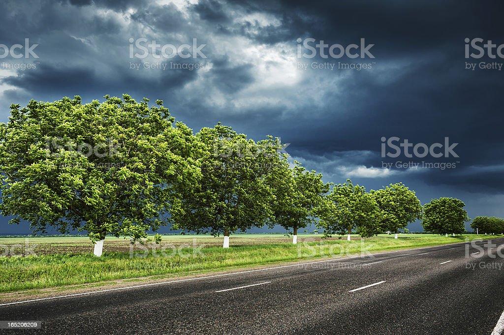 dark road before thunderstorm royalty-free stock photo