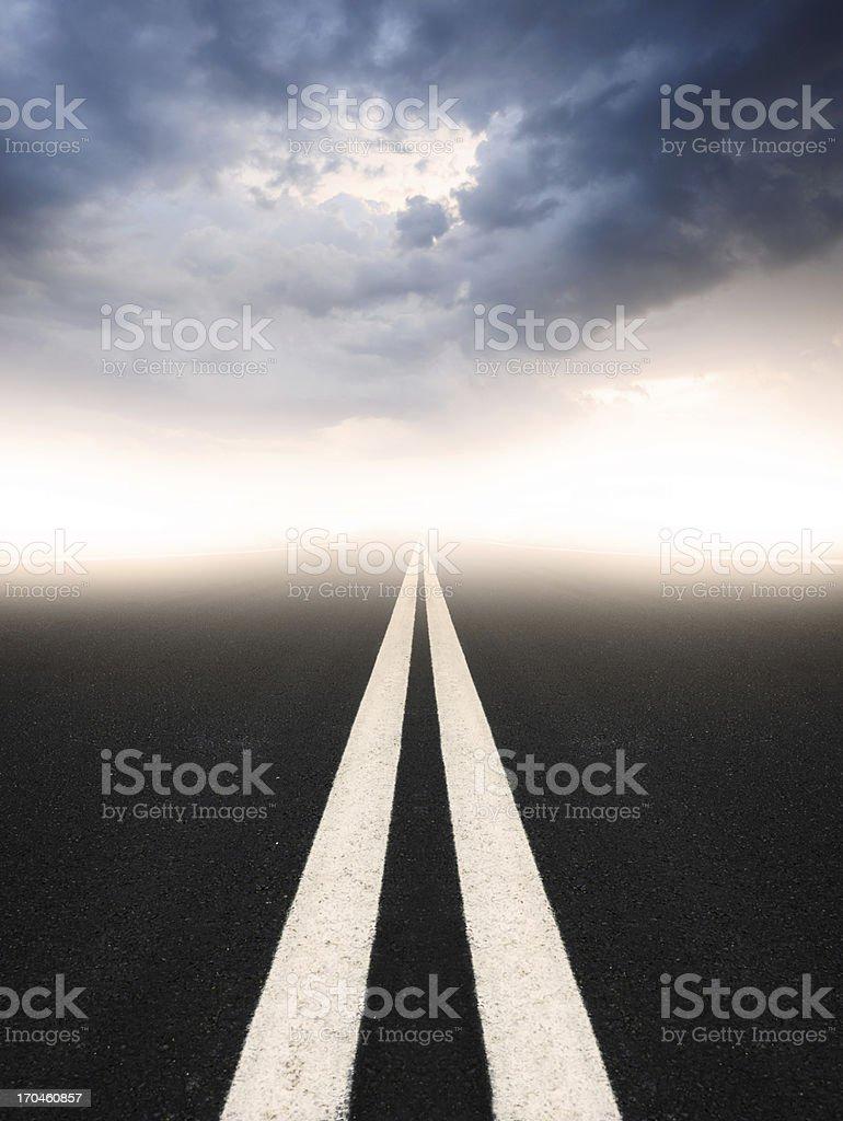 Dark road, white lines royalty-free stock photo