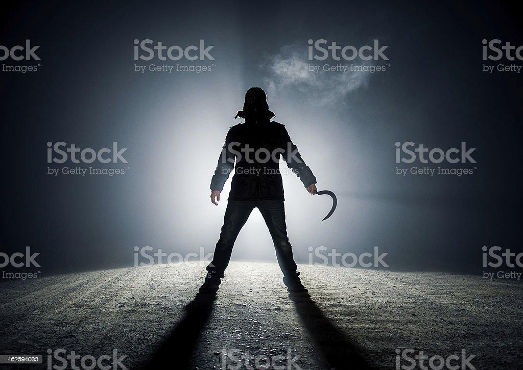 A dark roadside killer monster stock photo