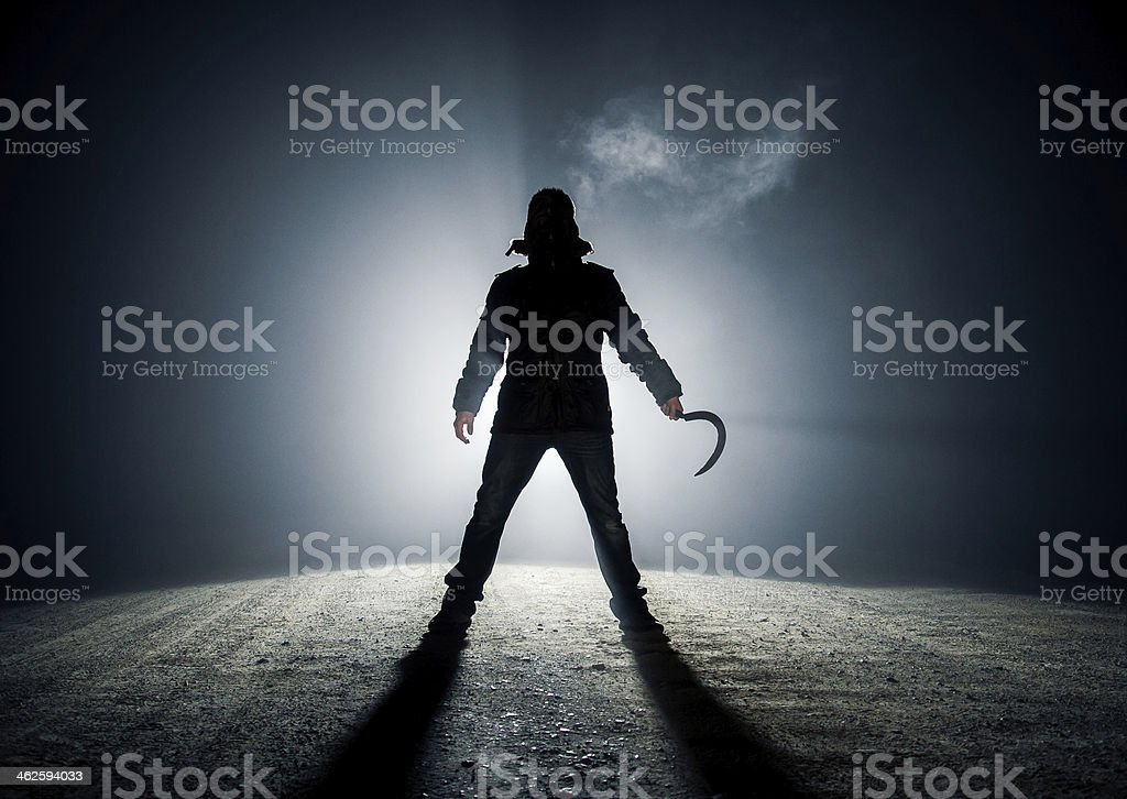 A dark roadside killer monster stock photo