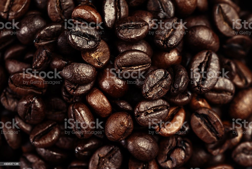 Dark Roasted Black Coffee Beans as Background, Wallpaper, Poster stock photo