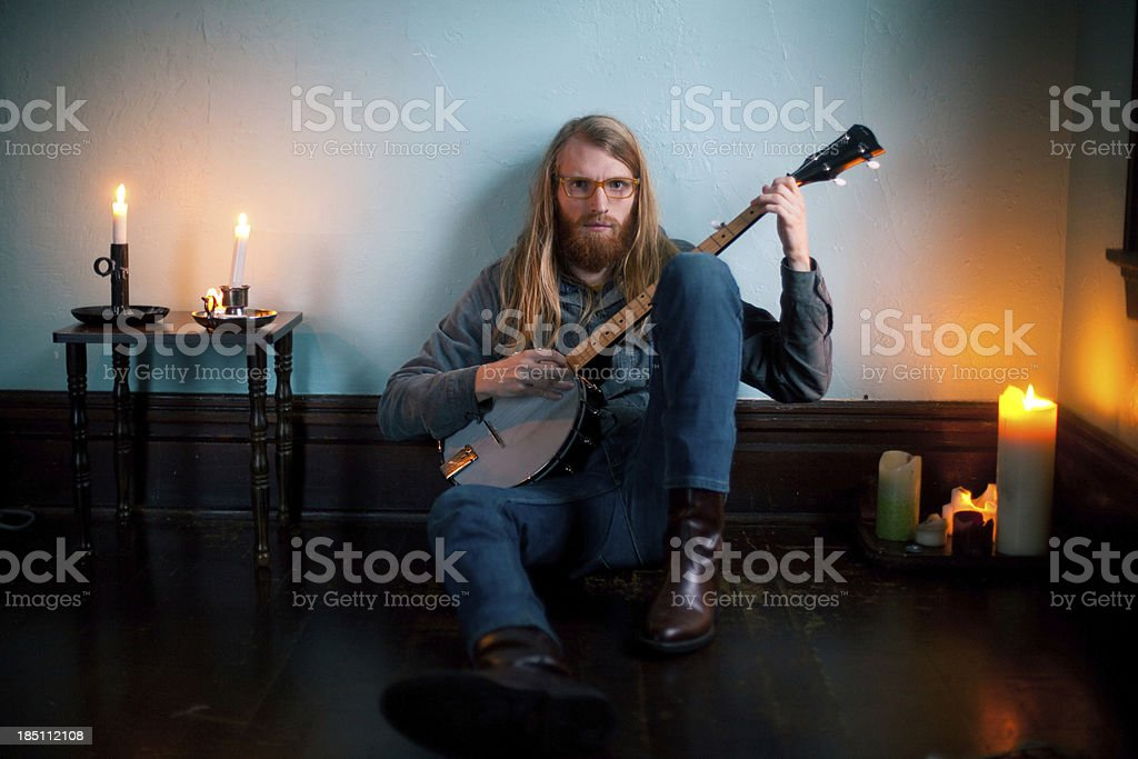 Dark Room Banjo Player Portrait royalty-free stock photo