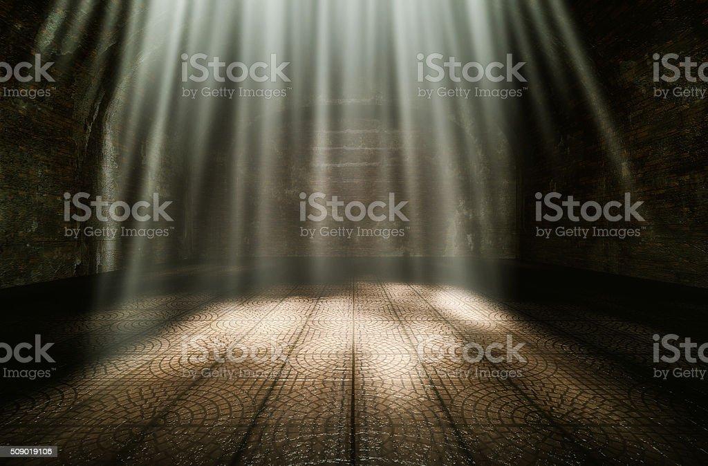 Dark room in the morning stock photo