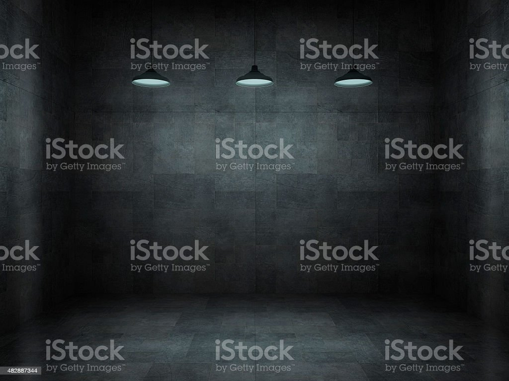 Dark, scar, empty office room stock photo