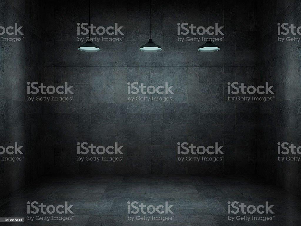 Dark, scar, empty office room stock photo