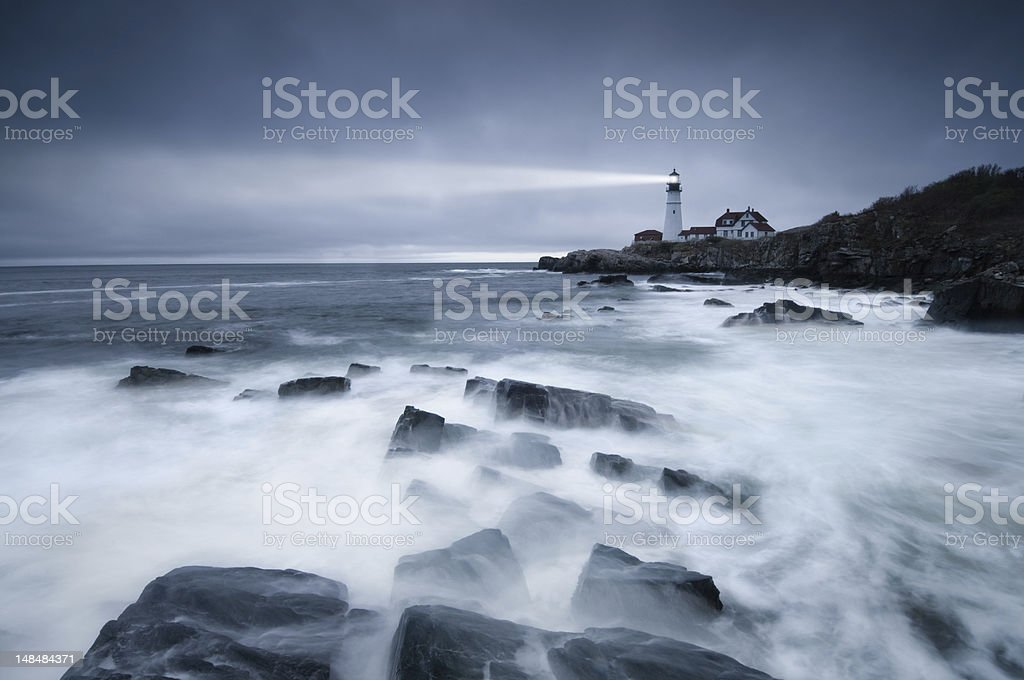 Dark seas lighthouse stock photo