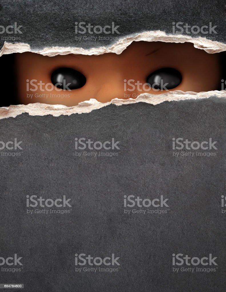 Dark series - vintage spooky doll stock photo