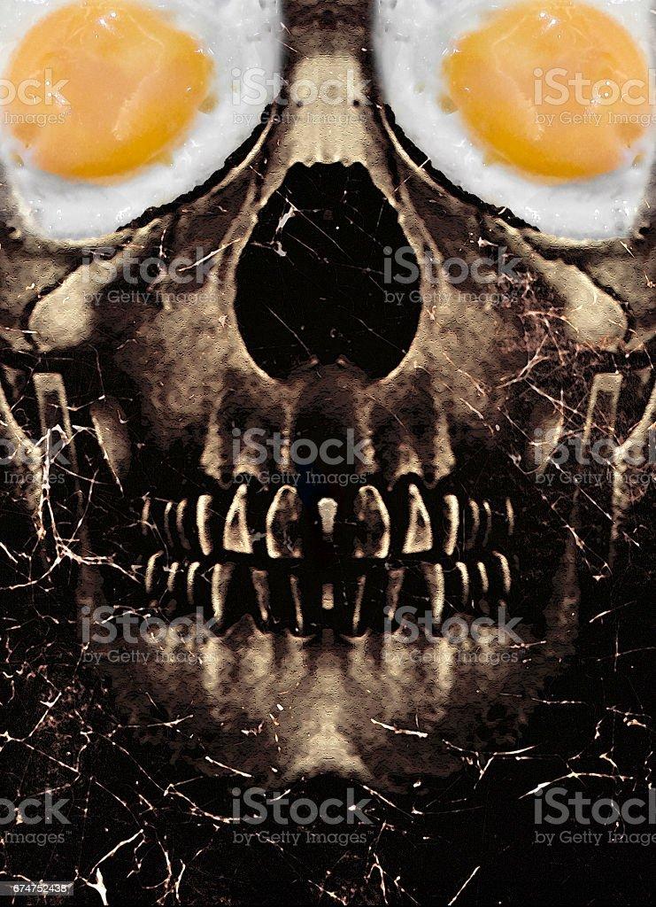Dark Skull with Fried Egg Eyes stock photo