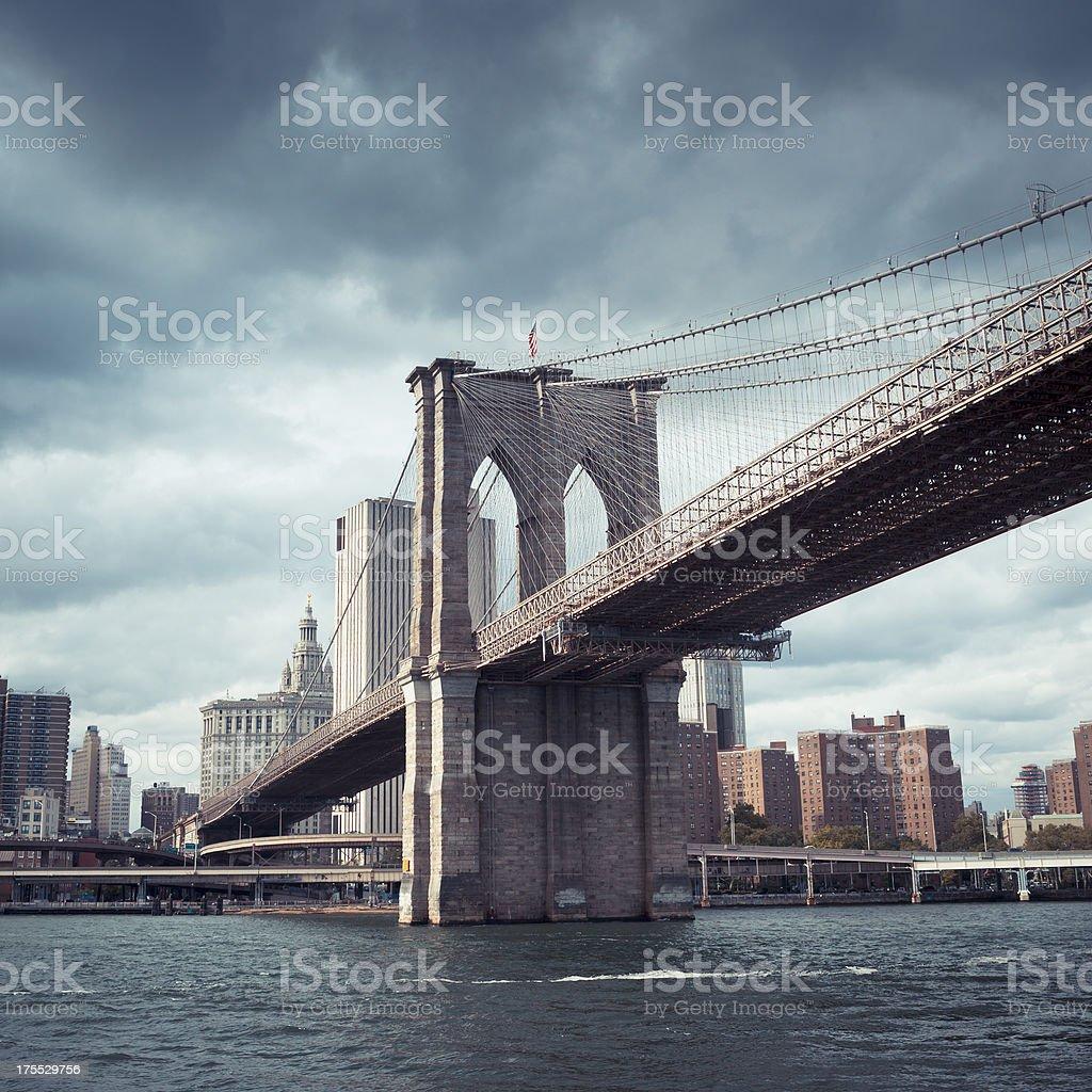 Dark sky over Brooklyn bridge stock photo