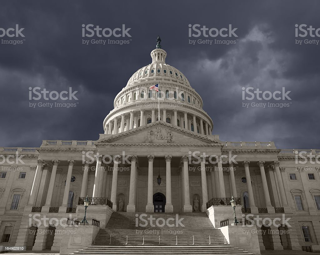 Dark Sky over the United States Capitol stock photo