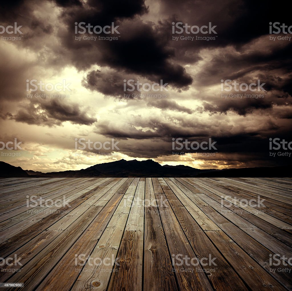 Dark sky with gloomy storm clouds stock photo