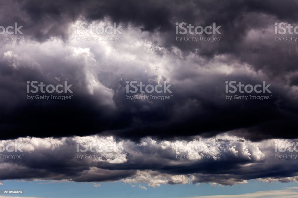 Dark sky with small white clouds stock photo