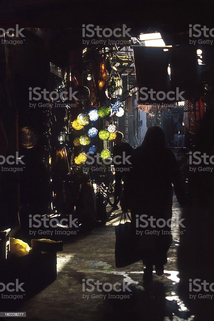 Dark Souk in Marrakesh royalty-free stock photo