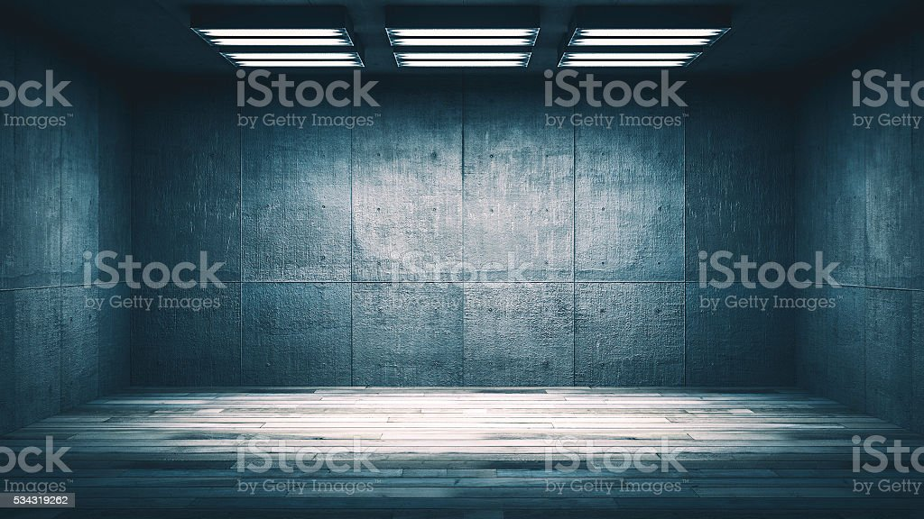 Dark, spooky, empty office or basement room stock photo