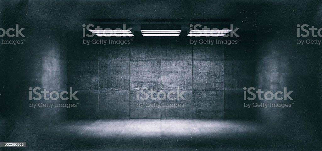 Dark, spooky, empty office room royalty-free stock photo