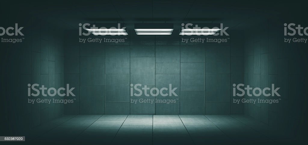 Dark, spooky, empty office room stock photo