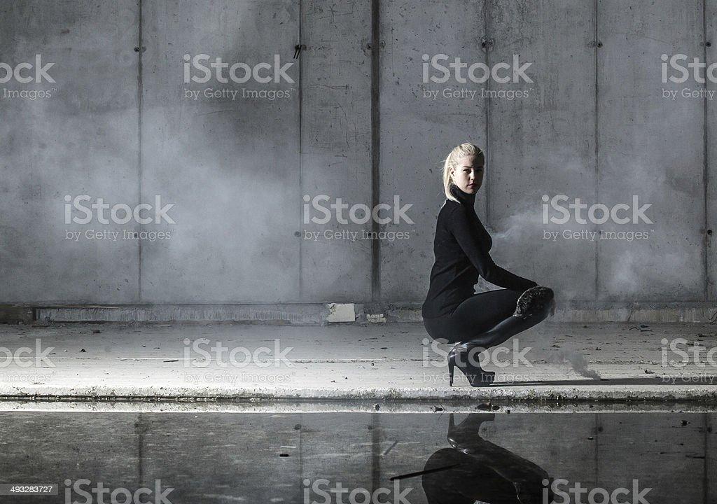Dark spy woman stock photo