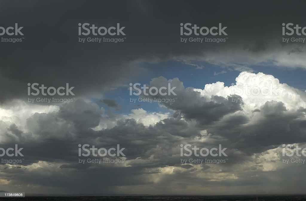 Dark Stormy Clouds in Desert royalty-free stock photo