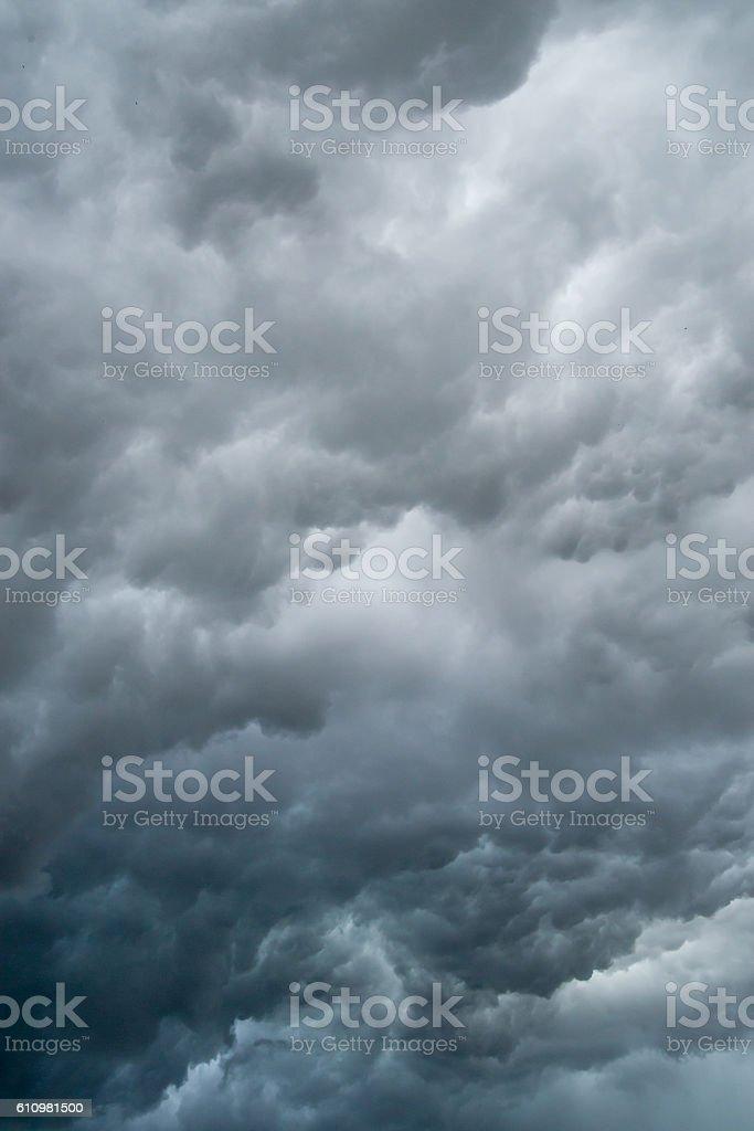 Dark, stormy clouds stock photo