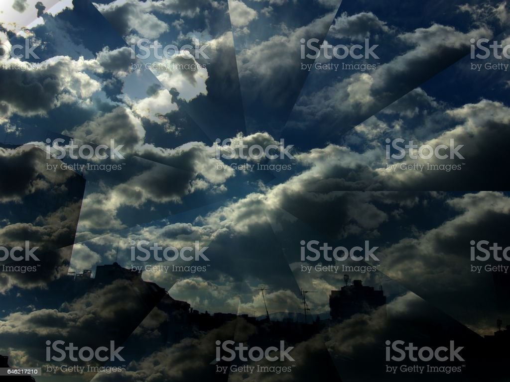 768- Dark  Stormy   Ominous Sky over city stock photo