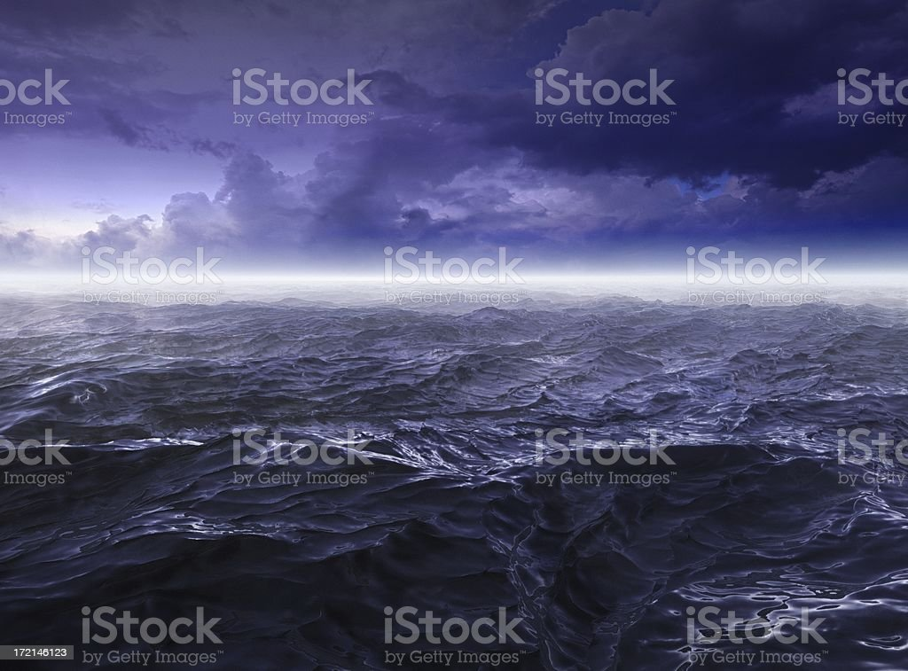 Dark stormy Sea Waters at Night stock photo