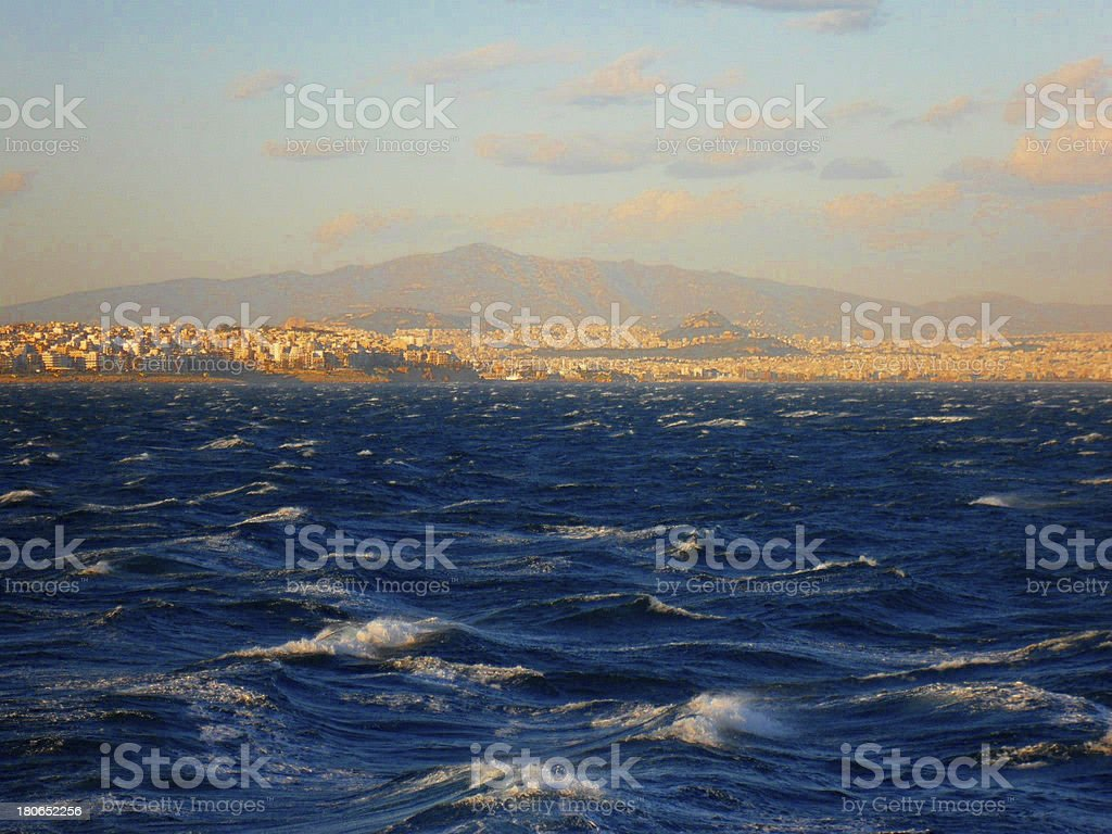 Dark stormy Sea Waters at Sunset royalty-free stock photo