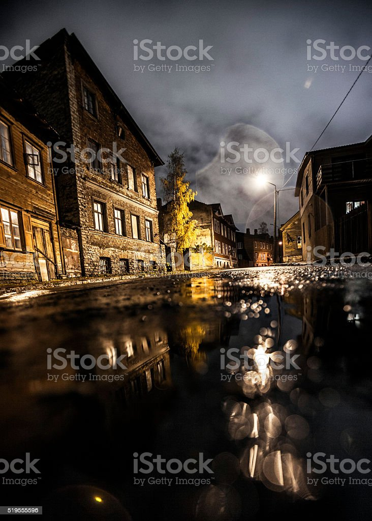 Dark street reflections. Tallinn. stock photo