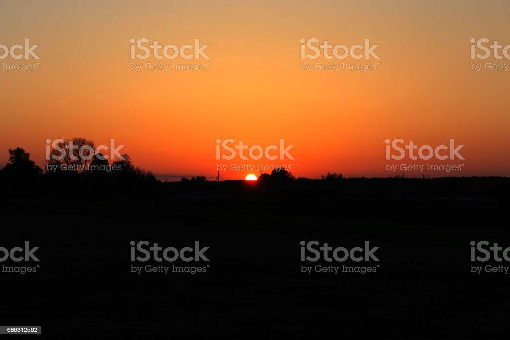 Dark summer decline above Earth stock photo