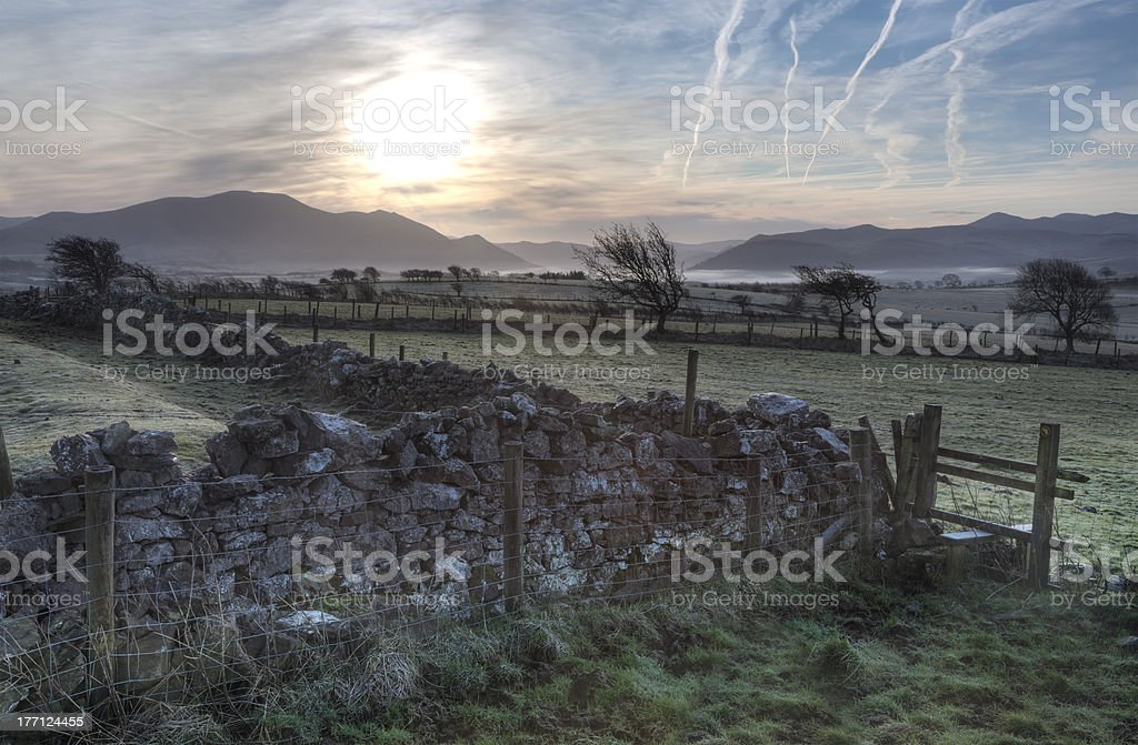 Dark sunrise stock photo