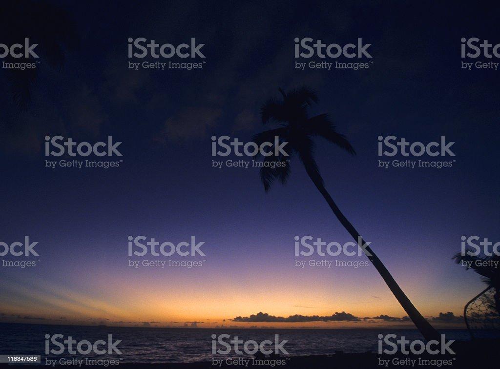 Dark sunset Bayahibe - Dominican republic stock photo