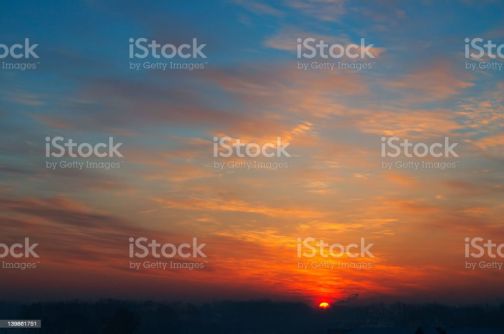 Dark sunset in the city. royalty-free stock photo