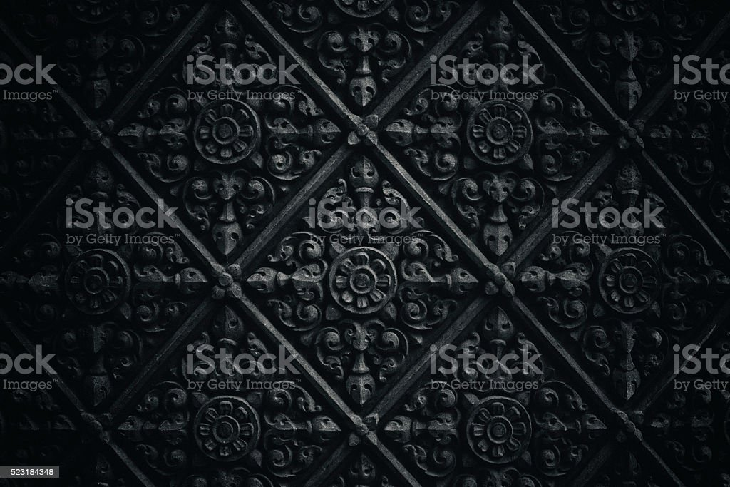 Dark temple wall pattern stock photo