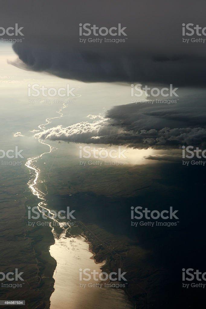 Dark Thunderstorm Over The Platte River stock photo