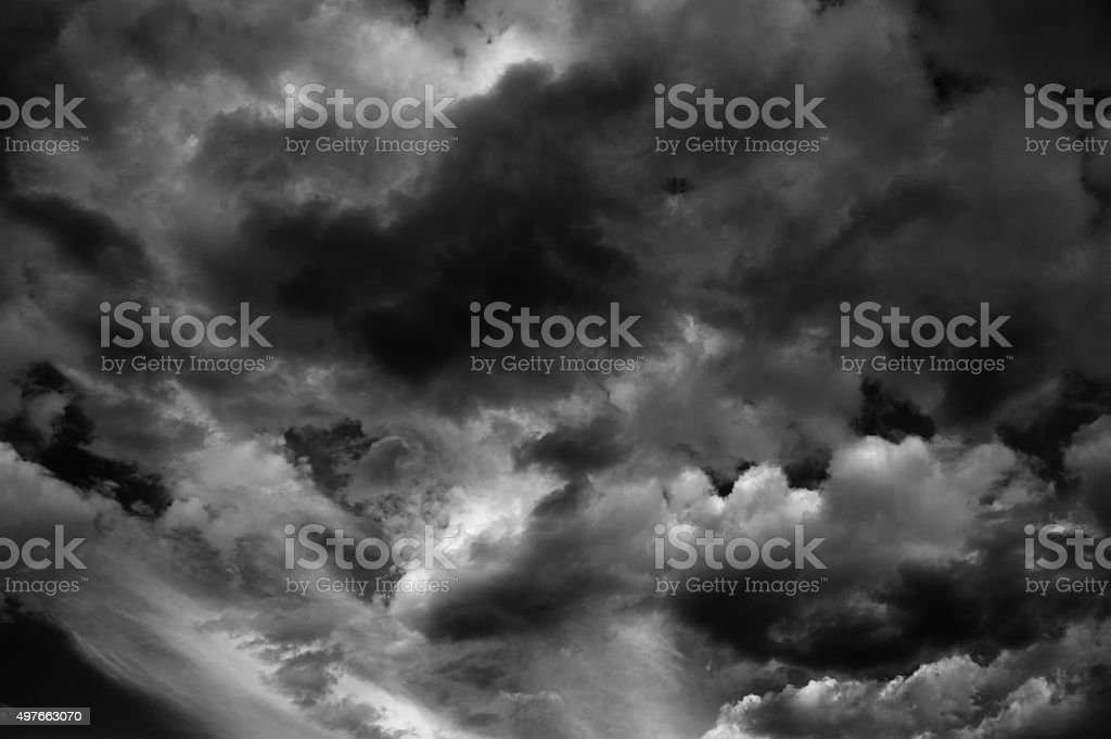 Dark Turbulent Storm Ominous Clouds stock photo