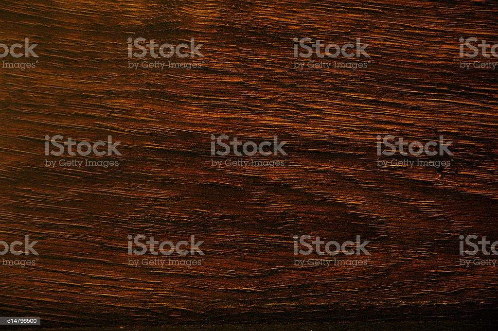 Dark varnished oak plank stock photo