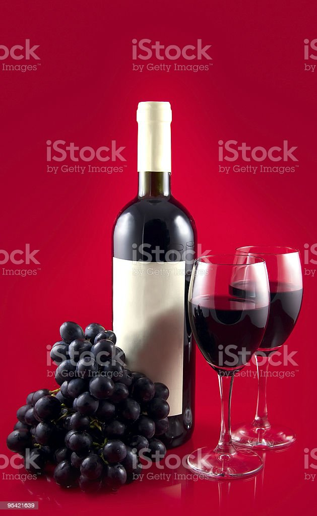 dark  wine on red back royalty-free stock photo