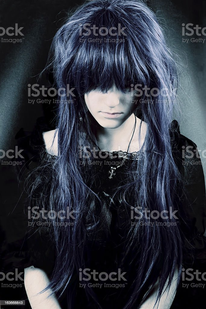 Dark woman portrait stock photo